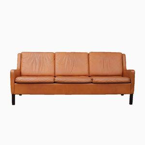 Danish Aniline Leather Sofa, 1970s