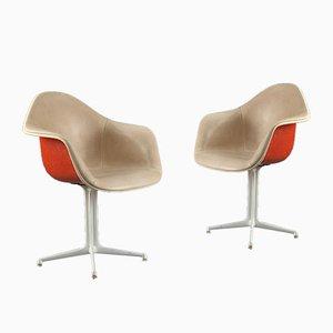 Orangefarbene und Beige La Fonda Stühle von Charles and Ray Eames für Herman Miller, 2er Set