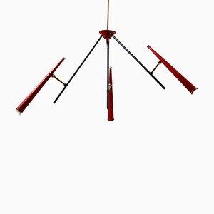 Italienische Rote Deckenlampe, 1950er