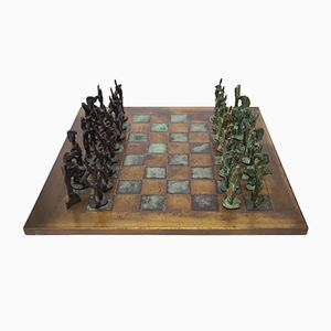 Brutalist Bronze Chess Set, 1960s