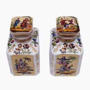 Antike Pariser Chinoiserie Teedosen, 2er Set