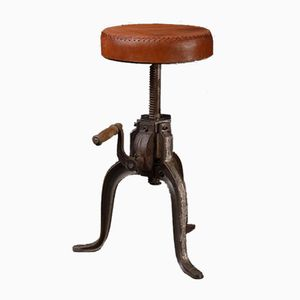 Industrial Cast Iron Stool with Leather, 1989