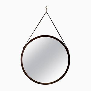 Italian Teak Wall Mirror with Leather Detail