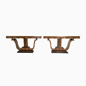 Vintage Italian Walnut and Rosewood Console Tables, 1940s, Set of 2