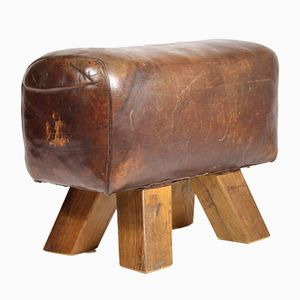 Leather Gym Stool, 1940s