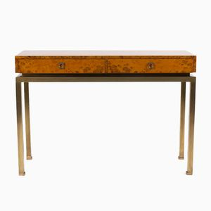 Vintage Burr Elm Console Table by Guy Lefevre for Maison Jansen, 1970