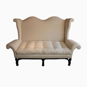 Antique Ebonised Wingback Linen Sofa