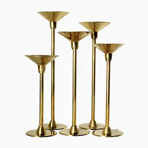 Art Deco Revival Brass Candleholders, 1970s, Set of 5