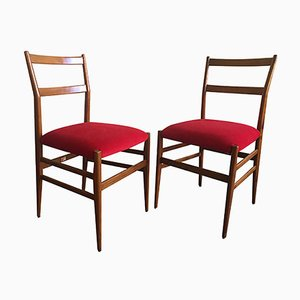 Mid-Century Red Chairs by Gio Ponti, Set of 2