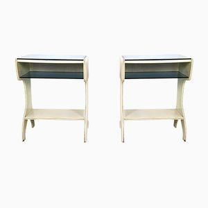 Tables de Chevet Mid-Century en Bois Laqué et en Verre, Italie, 1950s, Set de 2