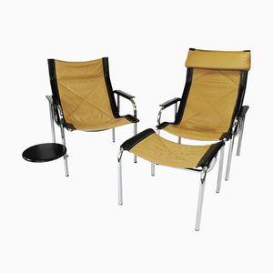 Modell HE Lounge Stühle mit Fußhocker von Hans Eichenberger für Strässle, 1978