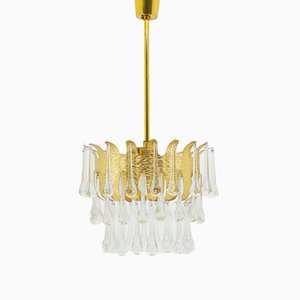 Golden Brass & Glass Chandelier by Ernst Palme, 1960s