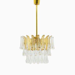 Kronleuchter aus Vergoldetem Messing & Glas von Ernst Palme, 1960er