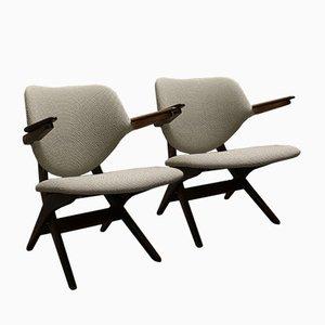 Niederländische Mid-Century Pelican Armlehnstühle von Louis van Teeffelen für Wébé, 1950er, 2er Set