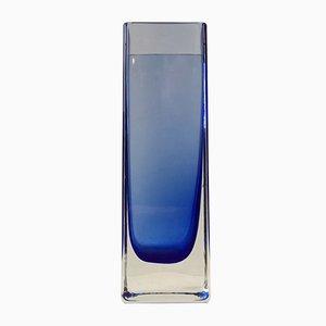 Modernistische Blaue Glasvase von Gunnar Ander für Lindshammar, 1960er