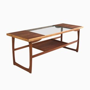 English Teak Coffee Table with Glass Panel, 1970s