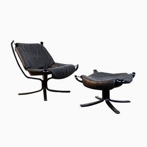 Black Leather Falcon Chair & Foot Stool by Sigurd Ressell for Vatner Möbler, 1970s