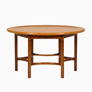 Vintage Walnut Circular Coffee Table by William Watting