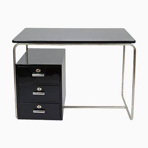 Vintage Bauhaus Black Lacquered Desk Schwarz, 1930s