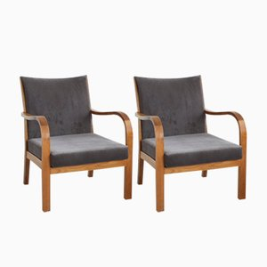 Mid-Century Fruitwood Lounge Chairs, Set of 2