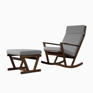Vintage Rocking Chair & Footstool by Poul Volther for Frem Rojle, 1960s