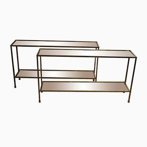 Mid-Century Gilt Brass Console Tables, Set of 2