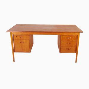 Schwedischer Mid-Century Teak Schreibtisch mit fünf Schubladen