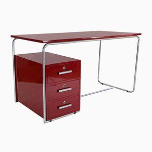 Vintage Bauhaus Schreibtisch mit Rotem Lack