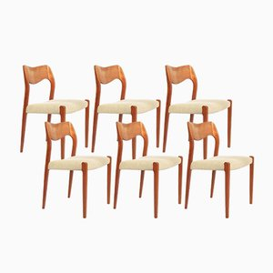 Mid-Century Danish Model 71 Chairs by N.O.Møller, Set of 6