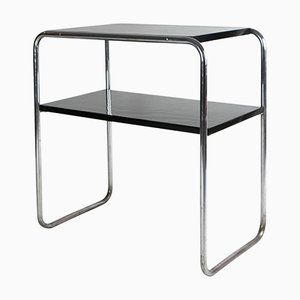 Vintage Bauhaus Side Table with Black Lacquer by Marcel Breuer