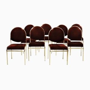 Gilded Brass Dining Chairs, Set of 8