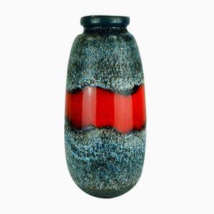 Blauschwarze Lava Bodenvase mit Roter Glasur von Scheurich
