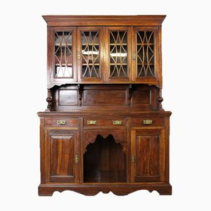 Large Antique Victorian Walnut Glazed Dresser