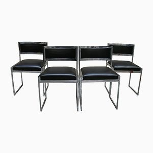 Mid-Century Chromed Steel Chairs by Willy Rizzo for Cidue, 1970s, Set of 4