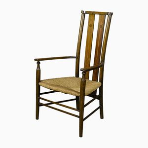 Edwardian Arts & Crafts Beech & Rush Occasional Chair