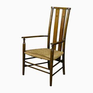 Edwardianischer Arts & Crafts Buche & Binse Stuhl