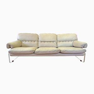White Leather and Plexiglass Sofa, 1960s