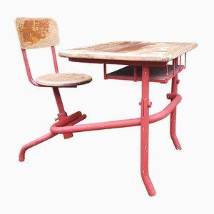 Table d'Ecolier Mid-Century avec Chaise Attachée