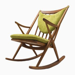 Mid-Century Green Fabric and Teak Rocking Chair by Frank Reenskaug for Bramin
