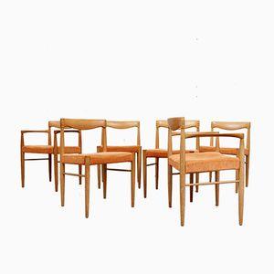 Mid-Century Eiche Esszimmerstühle von Henry W. Klein für Bramin, 6er Set