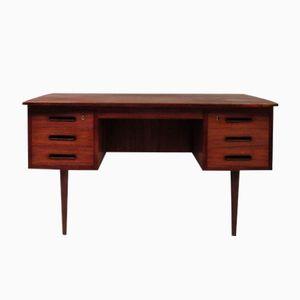 Gewölbter Vintage Teak Schreibtisch
