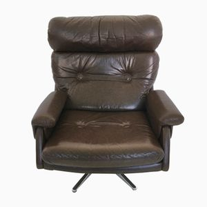 Italian Leather Swivel Recliner, 1970s