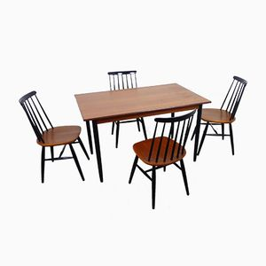 Swedish Teak Dining Table Set, 1960s