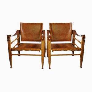 Vintage Safari Chairs by Børge Mogensen from Fredericia, Set of 2
