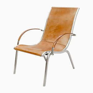 Italian Style Tan Leather & Aluminum Armchair, 1970s