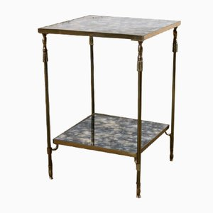 Vintage Brass & Flamed Glass Side Table from Maison Jansen