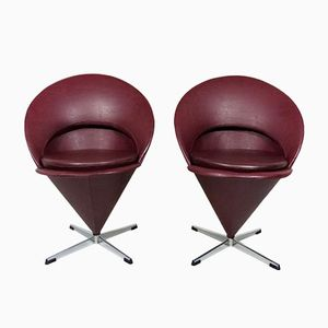 Mid-Century Burgundy Cone Chairs by Verner Panton for Plus-Linje, Set of 2