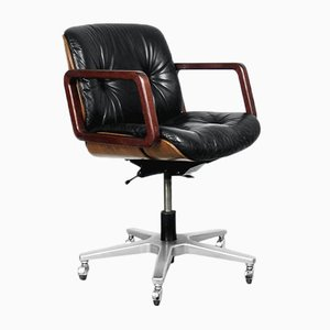 Leather Swivel Swiss Office Chair from Giroflex, 1970s