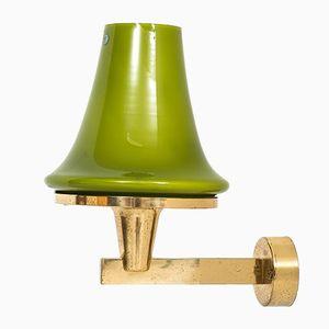 Grüne Wandlampe aus Glas von Hans-Agne Jakobsson, 1960er