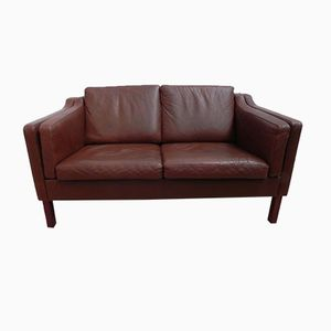 Vintage Scandinavian Sofa in Brown Leather